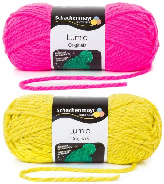 Lumio Strickset Mütze & Loop pink/gelb